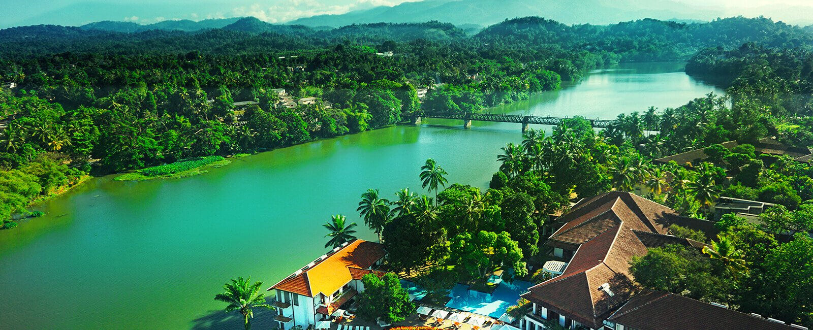 Aerial View of Mahaweli Reach Hotel and Mahaweli River in Kandy