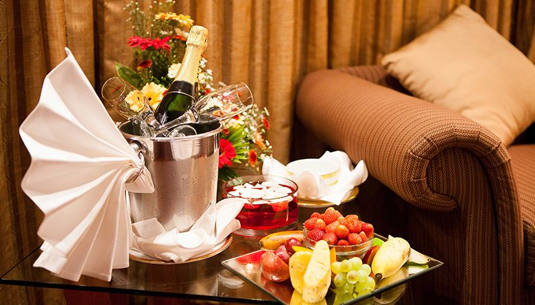 Champagne and Fruits at the Executive Suite in Mahaweli Reach Hotel