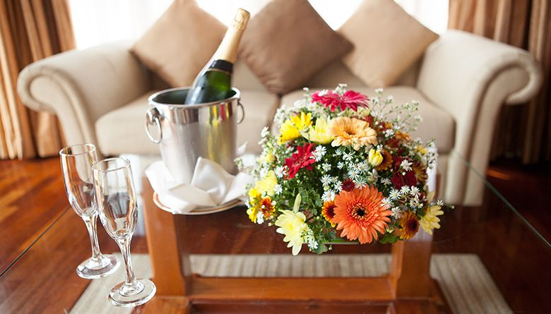 Champagne in the Executive Suite at Mahaweli Reach Hotel