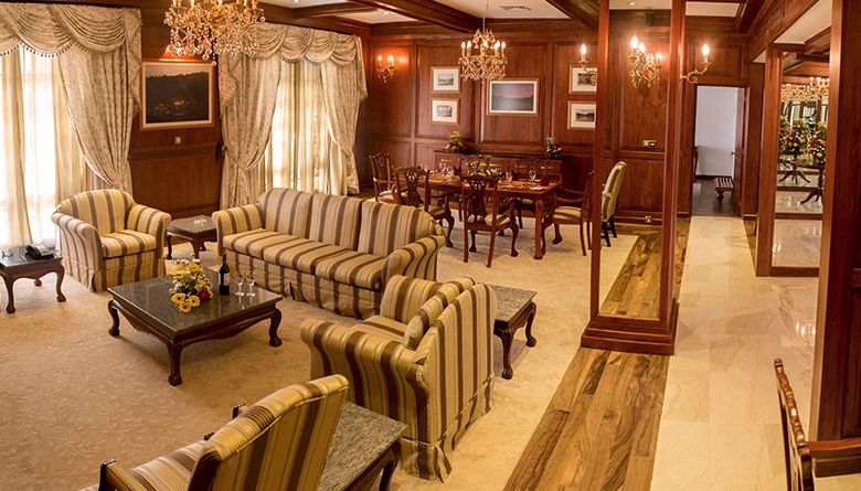 Angle View of the Living Area of the Presidential Suite in Mahaweli Reach Hotel