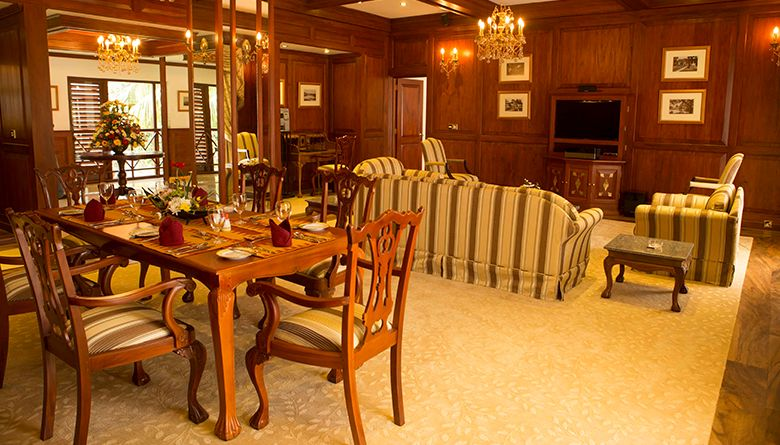 Living and Dining Areas in the Presidential Suite in Mahaweli Reach Hotel
