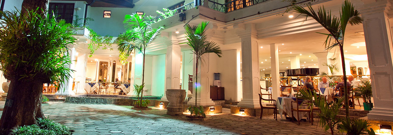 Entrance to Mahaweli Reach Hotel at Night