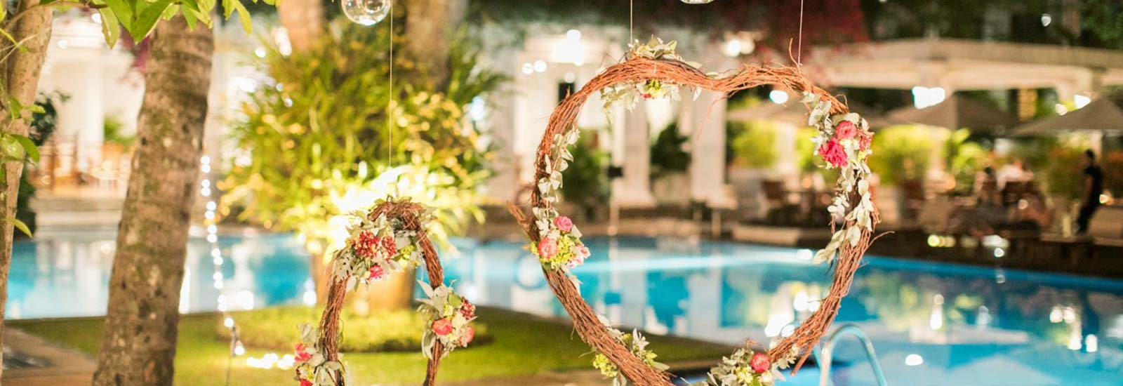 Night Outdoor Wedding Arrangements at Mahaweli Reach Hotel