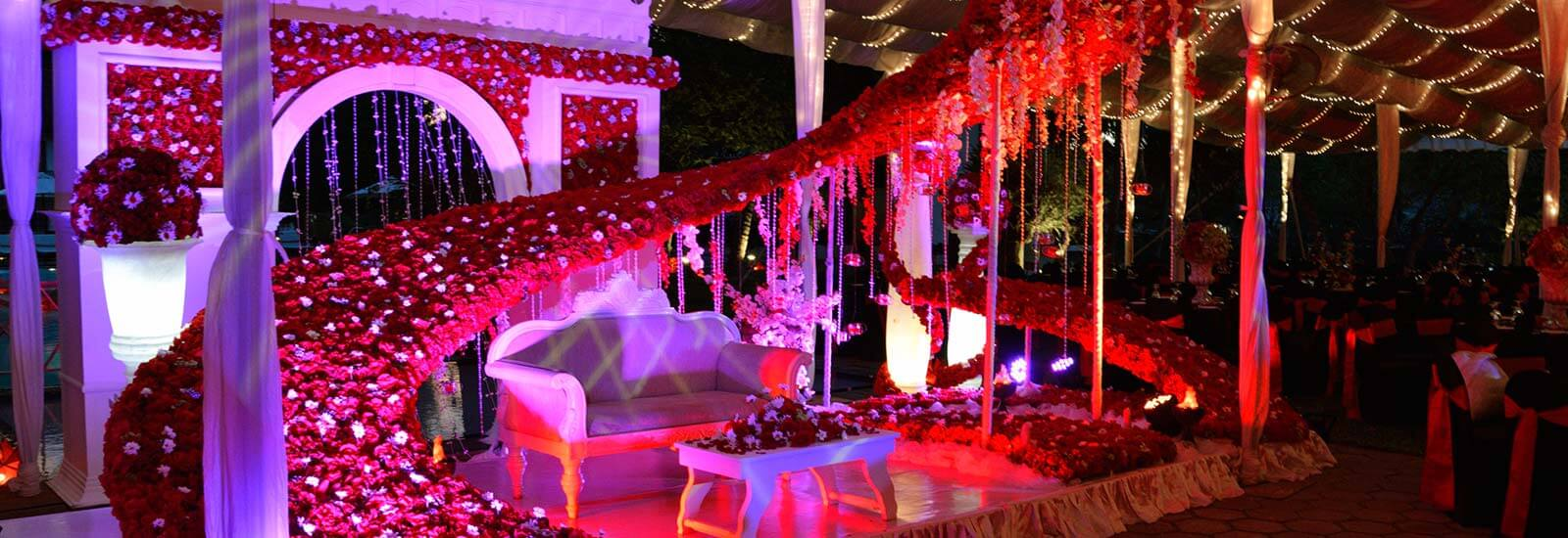 Night Wedding Decorations at Mahaweli Reach Hotel